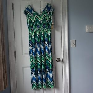 NWT Size M One World green and blue Maxi dress